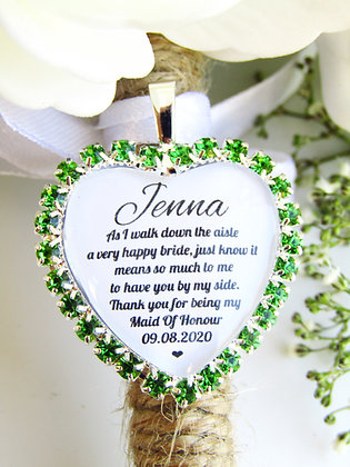 Maid Of Honour Quote 'Thank you' Bouquet Charm in Green Diamantes