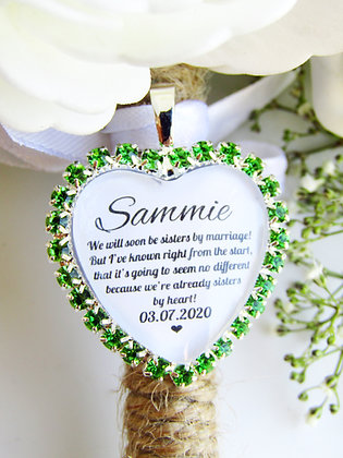 Sister In Law Quote 'Sisters By Heart' Bouquet Charm Green Diamantés