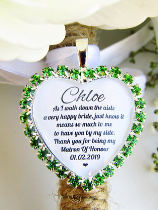 Matron Of Honour Quote 'Thank you' Bouquet Charm in Green Diamantes