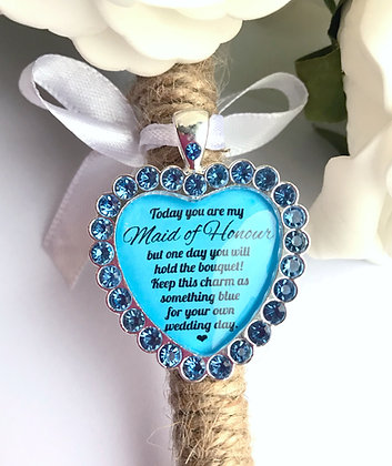 Maid Of Honour Bouquet Charm Something Blue Gift