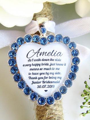 Junior Bridesmaid Quote 'Thank you' Bouquet Charm in Blue Diamantés