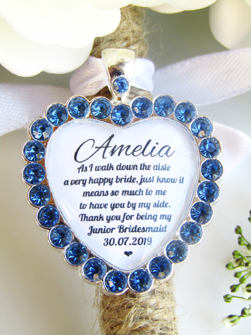 Junior Bridesmaid Quote Thank You Bouquet Charm In Blue Diamantés