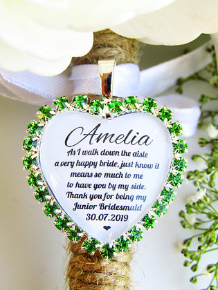 Junior Bridesmaid Quote 'Thank you' Bouquet Charm in Green Diamantes