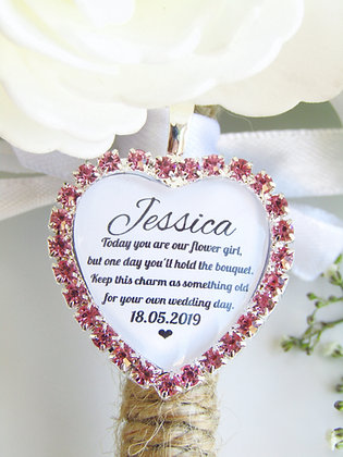 Flower Girl Quote 'Something Old' Bouquet Charm in Pink Diamantés