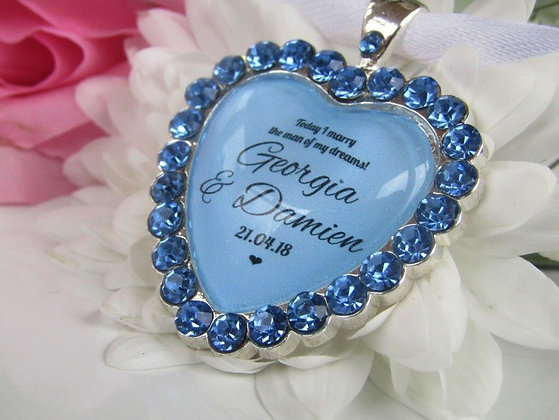 Something Blue 'Today I Marry' Bouquet Charm