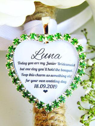 Junior Bridesmaid Quote 'Something Old' Bouquet Charm Green Diamantés