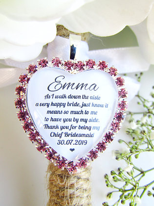 Chief Bridesmaid Quote 'Thank you' Bouquet Charm in Pink Diamantes