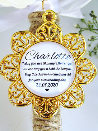 Mammy's Flower Girl Quote 'Hold the Bouquet' Bouquet Charm Gold Flower Surround