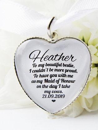 Maid of Honour 'Bestie' Bouquet Charm