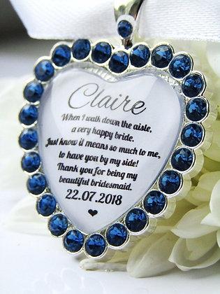 Bridesmaid Quote 'Means so Much to me'  Bouquet Charm Diamanté