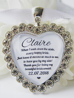 Bridesmaid Quote 'Thank You' Bouquet Charm Diamanté