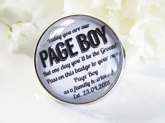 Page Boy 'One Day' Lapel Badge