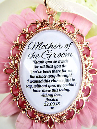 Mother of the Groom 'Thank You' Gold Oval Charm