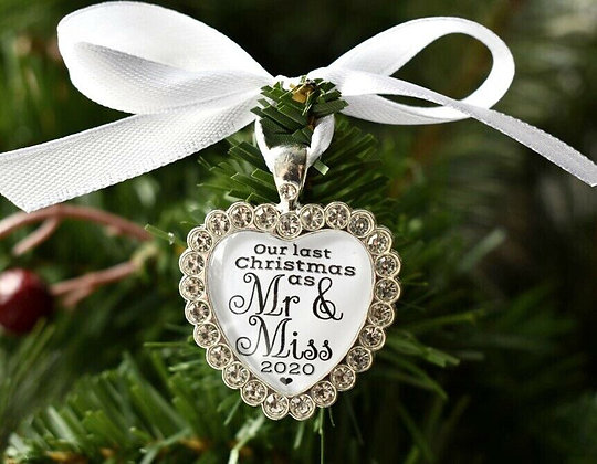 Last Christmas As Mr & Miss 2019 Small Heart Christmas Tree Decoration