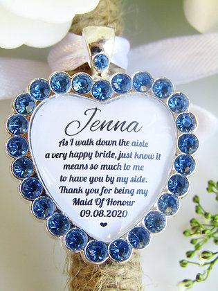 Maid Of Honour Quote 'Thank you' Bouquet Charm in Blue Diamantes
