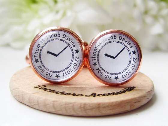 Cufflinks for Dad Featuring Childs Name DOB Birth Weight & Time