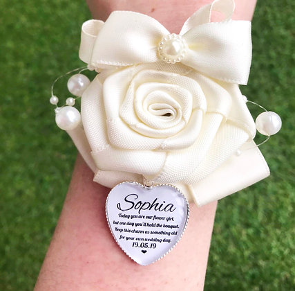 Ivory Rose Corsage With Personalised Charm