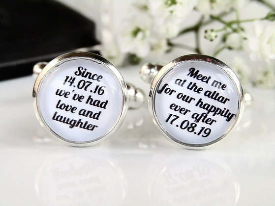 Meet Me At The Altar Personalised Dates Cufflinks