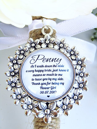 Flower Girl 'Happy Bride' Quote Bouquet Charm Flower Surround