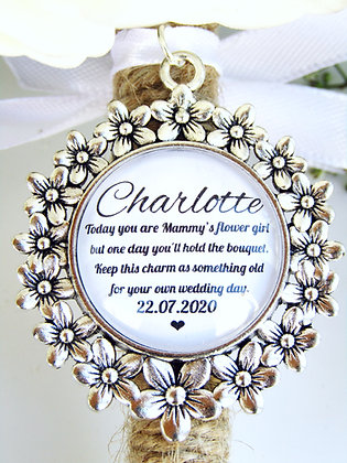 Mammy's Flower Girl Quote 'Hold the Bouquet' Bouquet Charm Flowers