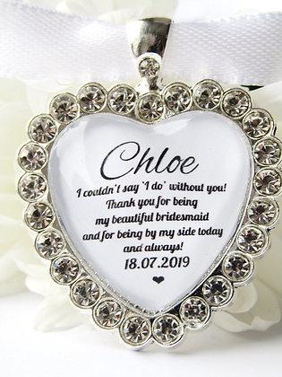 Bridesmaid Quote Bouquet Charm Diamanté