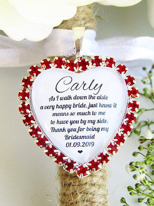 Bridesmaid Quote 'Thank you' Bouquet Charm in Red Diamantes