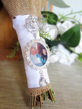Long Dangle Diamante Photo Bouquet Charm Memory Pin