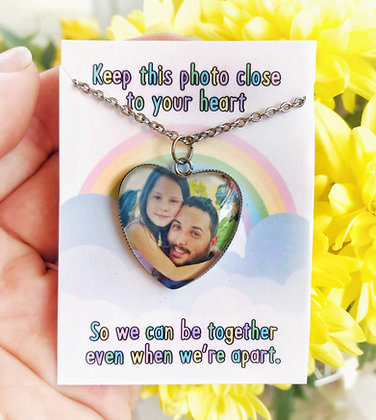 Photo Necklace With Rainbow Quote Packaging
