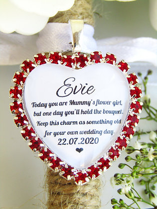 Mummy's Flower Girl Quote 'Something Old' Bouquet Charm in Red Diamantes