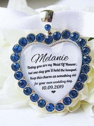 Maid Of Honour Blue Bouquet Charm Diamanté