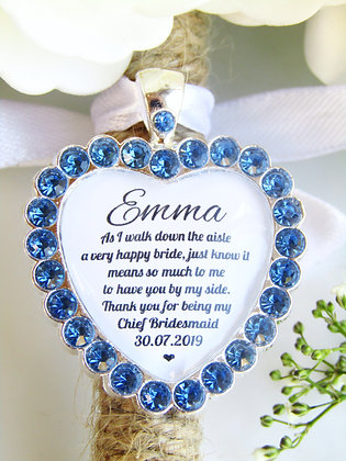 Chief Bridesmaid Quote 'Thank you' Bouquet Charm in Blue Diamantes