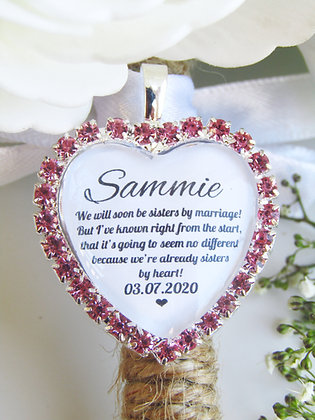 Sister In Law Quote 'Sisters By Heart' Bouquet Charm Pink Diamantés