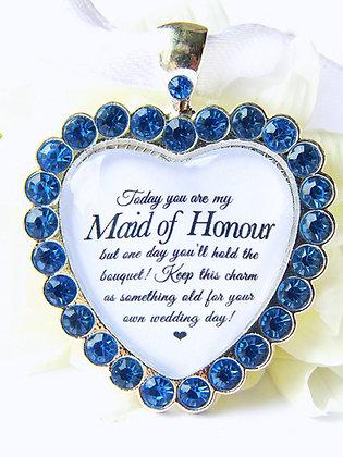 Maid Of Honour Bouquet Charm 'Thank you' Blue Diamantés