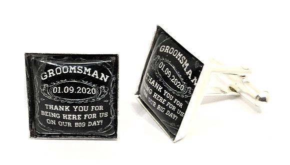 Groomsman Cufflinks Black Square Design