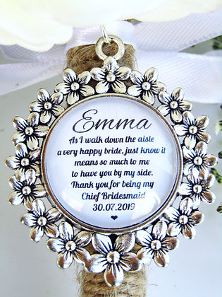 Chief Bridesmaid 'Happy Bride' Quote Bouquet Charm Flower Surround