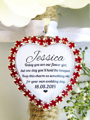 Flower Girl Quote 'Something Old' Bouquet Charm in Red Diamantes
