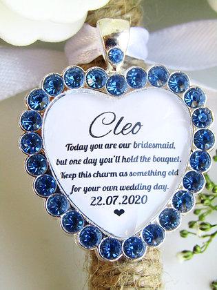 Bridesmaid Quote 'Something Old' Bouquet Charm Blue Diamantés
