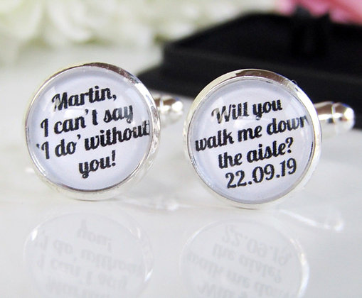 Will You Walk Me Down The Aisle Custom Name And Date Cufflinks