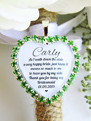 Bridesmaid Quote 'Thank you' Bouquet Charm in Green Diamantes
