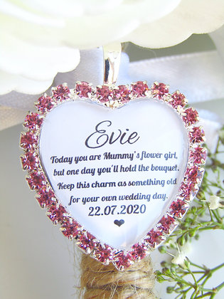Mummy's Flower Girl Quote 'Something Old' Bouquet Charm in Pink Diamant