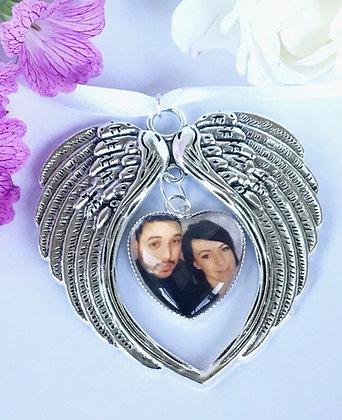 Angel Wings Heart Photo Bouquet Charm