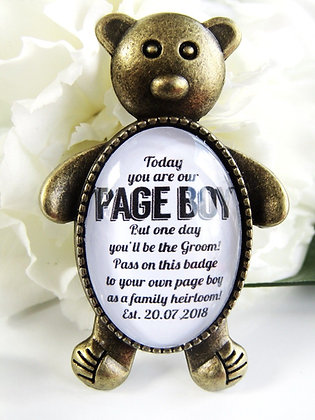 Page Boy Date Bear Badge