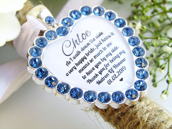 Matron Of Honour Quote 'Thank you' Bouquet Charm in Blue Diamantes