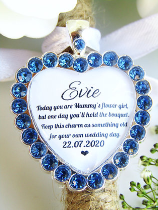 Mummy's Flower Girl Quote 'Something Old' Bouquet Charm in Blue Diamant