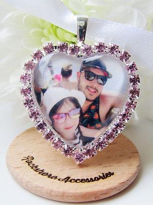 Memory Bouquet Charm Photo Charm with Pink Diamantés