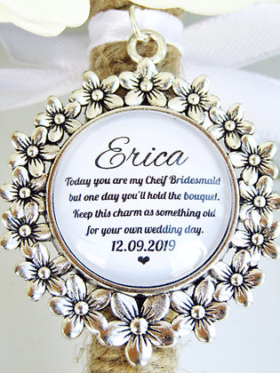 'Chief Bridesmaid Quote 'Hold the Bouquet' Bouquet Charm Flower