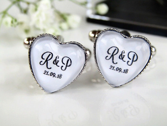 Heart Cufflinks With Personlised Initials And Date
