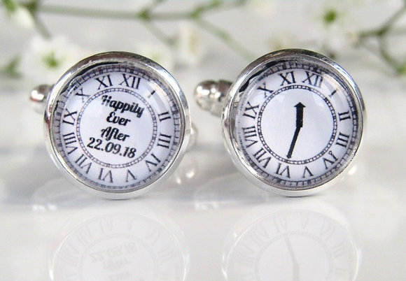 Happily Ever After Clock Date And Time Cufflinks