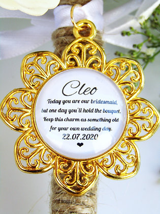 Bridesmaid Quote 'Hold the Bouquet' Bouquet Charm Gold Flower S
