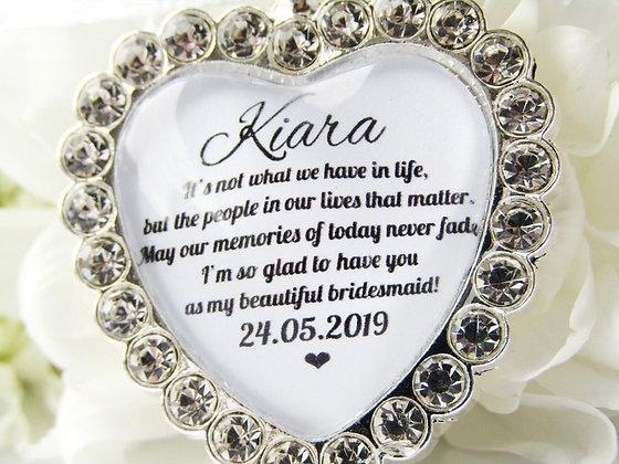 Bridesmaid Quote 'Glad to Have You' Bouquet Charm Diamanté
